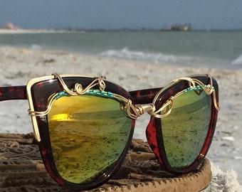 Classic Cat Eye Artisan Sunglasses Women, Copper Wire Wrapped, Festival Fashion Sun Glasses Sunnies, Boho Hippie Bohemian Sunglasses