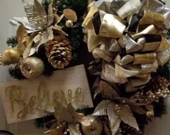 Believe Christmas Wreath, Christmas Wreath , Holiday Wreath Winter Wreath