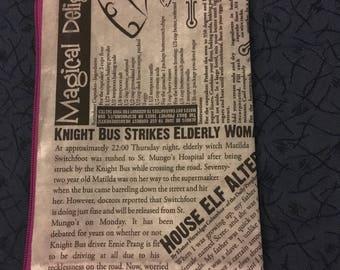 "Wizard Newspaper- zipper pouch- ""Magical Delights"""