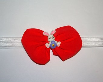 3.5 in. Easter Bunny Bright Coral Chiffon Bow Boutique Headband (17 inches Normally Fits 3T & UP)