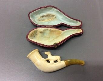 Vintage meerschaum horse tobacco pipe in case