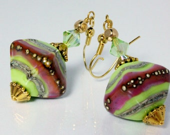 Green and Purple Lampwork Earrings, Swarovski Crystals, Coleus Colors, Lime Green, Purple