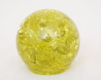 Yellow Lucite Paperweight
