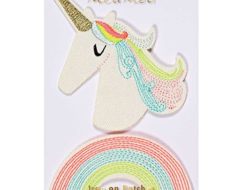 Meri Meri Unicorn and Rainbow Embroidered Patches (2), Iron-On Unicorn Patch, Rainbow Party Patch, Kids Embroidered Patch, Pin Brooch