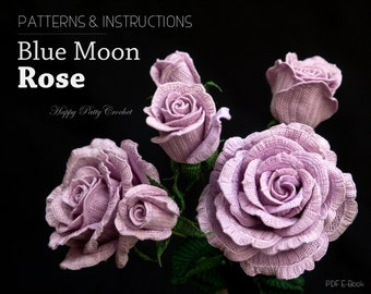 Crochet Rose Pattern - Blue Moon Rose Crochet Flower Pattern - Crochet Pattern for Decor and Arrangements