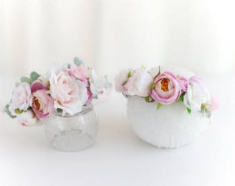 Mommy and Me Flower Crown, Mommy and Me Floral Crown, Pink Floral Crown, Pink Garden Crown, Dusty Rose Floral Crown, Rose Flower Crown
