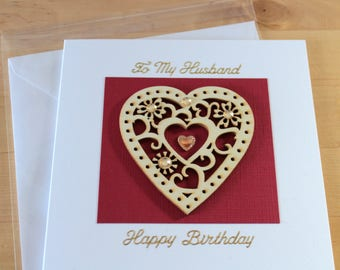 Husband birthday card, gift, Birthday card Husband, Unique card, Luxury Card husband, Handmade card Husband, him,  Greeting card handmade