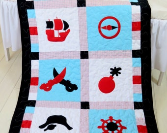 Pirate Blanket, Patchwork Quilt Blanket,Toddler Quilt Blanket, Black Red Aqua White Colors