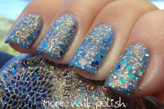 Gold Glitter Nail Polish with Gold Aqua & Navy Blue Glitter