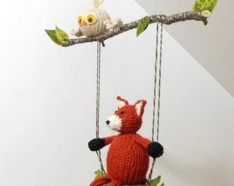 Baby mobile, nursery mobile, Woodland Mobile, Fox Mobile, Baby Mobiles, Fox on Swing, Owl Mobile, Woodland Nursery, Woodland Animal Mobile