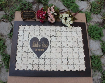 Wedding guest book Puzzle,Wedding guestbook Wood, Jigsaw guestbook,Guest book Puzzle,Personalized puzzle, Wedding puzzle guestbook,Puzzle