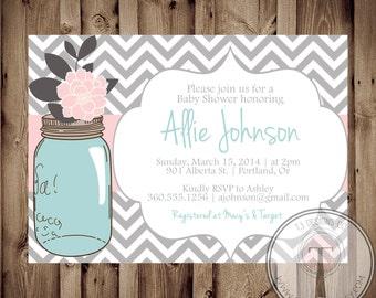 BABY SHOWER Invitation, Baby shower invitation girl, baby shower invite, pink aqua rustic mason jar