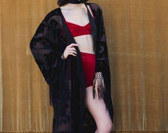 Piano Shawl, Burnout Velvet Kimono with Fringe, Bridal Robe, Black Duster