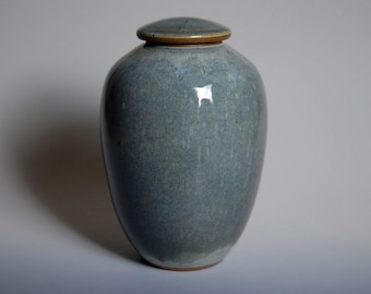 Cremation urn, ashes, slate blue