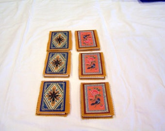 Set of 6 vintage bridge tallys, c. 1970s