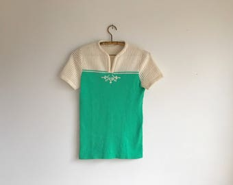 Green and White 70's Short Sleeve Shirt, Size Small