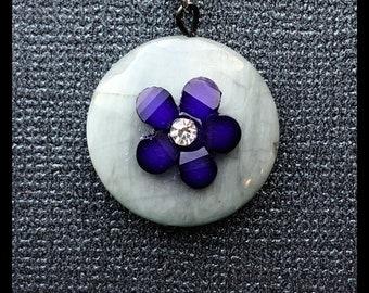 Gorgeous Gray Gemstone & Crystal Flower Necklace