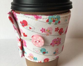 Coffee Cozy - Love Birds Coffee Cup Sleeve - Reusable Coffee Sleeve