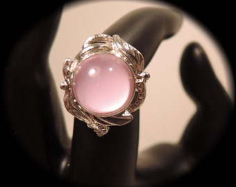 Silver Tone and Pink Glass Adjustable Ring c1980