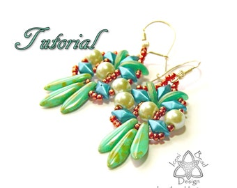 PDF Tutorial Fiesta Earrings with DiamonDuos, Crescent Beads and Two-hole Dagger Beads. Pattern, Instructions, beadwork. English Only,