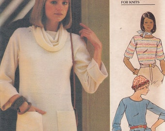 Fast and Easy Butterick 4922 sewing pattern for knits top size 12 from 1970s