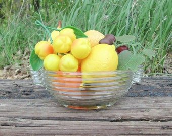 Manhattan Depression Glass Clear Ribbed Serving Fruit Bowl Tabletop Anchor Hocking Art Deco 1930-40's