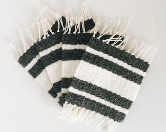 Woven Coasters | Set of 4 | Charcoal Gray & White