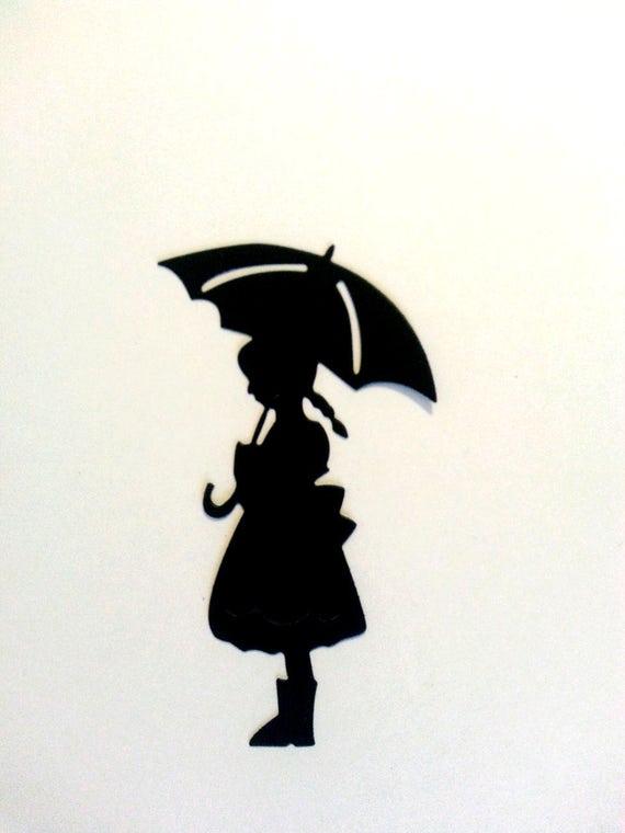 little girl under umbrella paper die cuts scrapbook cupcakes
