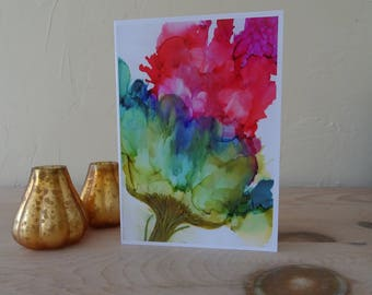 Flower greeting card from an original painting, get well card, limited edition