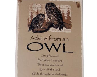 "Advice from an Owl Novelty Inspirational 5.5""x8.5"" Wood Plaque Sign"