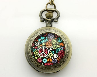 V1 Necklace Pocket watch Peace and love 2525M