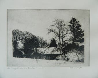 An original solar etching:  Snug at home in a Saddleworth winter.  Black and white art print.