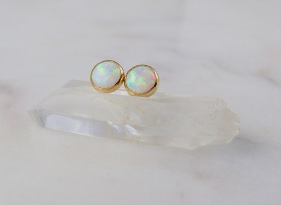 Opal Earrings | Opal Stud Earrings | Opal Jewelry | Gemstone Earrings | Birthday Gift | Stud Earrings | October Birthstone | Gift for Her