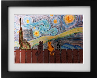Three cats on a starry night Print Ink Painting Print Abstract Art Print Wall Art Living Room Decor Wall Decor Unframed