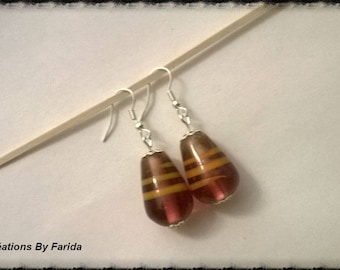 Drop earrings red and gold