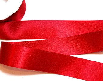 Red Satin Ribbon 1 1/2 inches wide x 20 yards, Gold Ribbon, Morex Glitter Pearl Gold Satin Ribbon, Red 8866.38/20-250