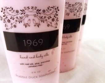 1969 Hand and Body Silk Lotion scented with nag champa, sandalwood, and a hint of patchouli, Paraben Free Lotion