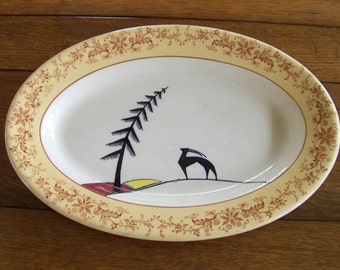 SALE - Vintage Restraunt Platter with Gazelle Antelope Albert Pick China