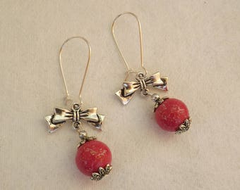 Earrings sleepers bows and glittery pink beads