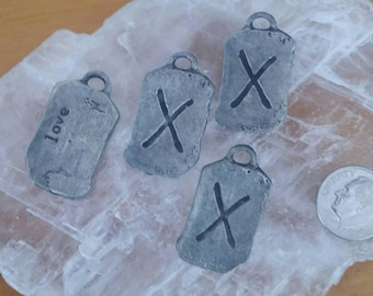 4 Antiqued Silver Pewter Love Runes Pendant Charms