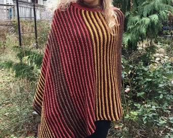 Hand Knit Striped Retro Colored Earth Tones Asymmetrical Poncho by Rose Cottage Knitting