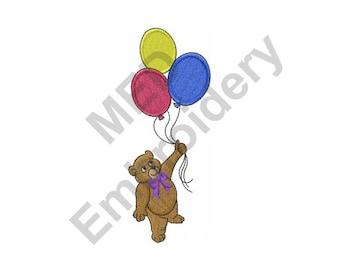 Bear With Balloons - Machine Embroidery Design, Bear, Balloons, Teddy Bear
