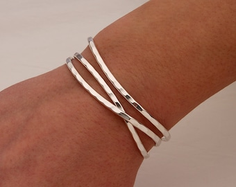 Thin Hammered Cuff Bracelets, Sterling Silver