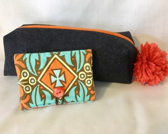 Denim Pom Pom Pencil Case - Matching Credit Card Case - Amy Butler Fabric Case - School Supplies - Gift for Kid - Zipper Pouch - Zipper Case