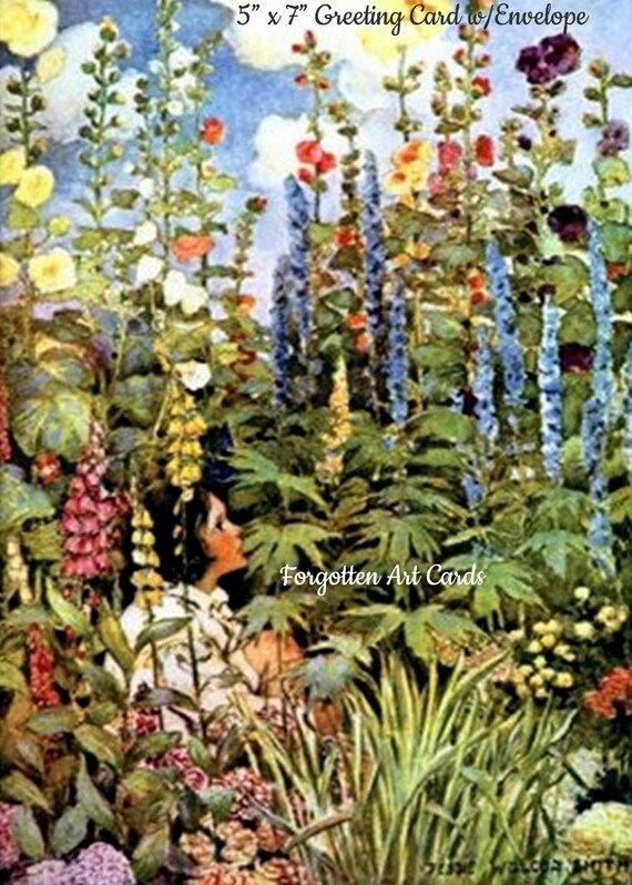 "Flower Garden Girl, Hollyhocks, Foxglove,  5""x7"" Greeting Card w/Envelope,  Jessie Willcox Smith, Forgotten Art Cards, Pretty Girl Postcards"