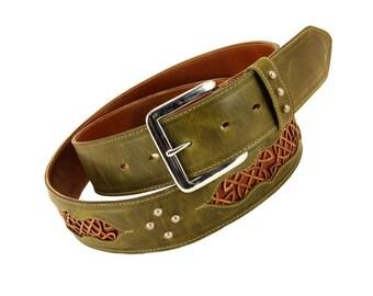 """Leather Belt: green leather belt with a Celtic Design """"Celtic Trilogy Belt"""""""