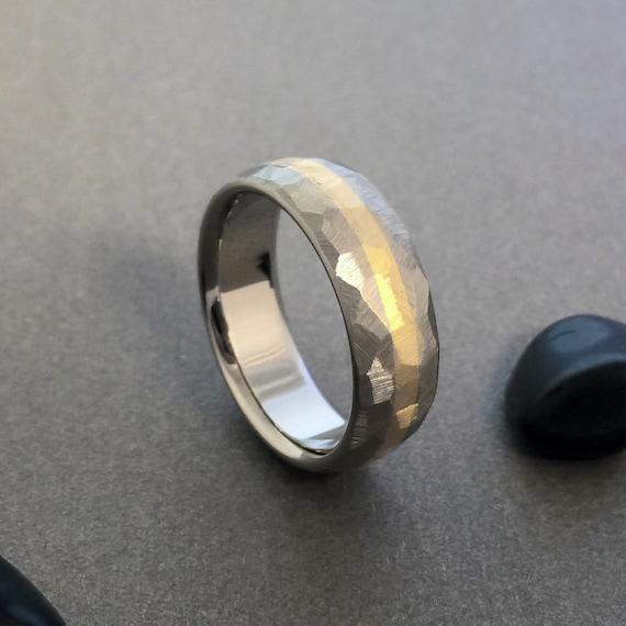 18k Solid Gold and Titanium Ring Mosaic Finish Titanium