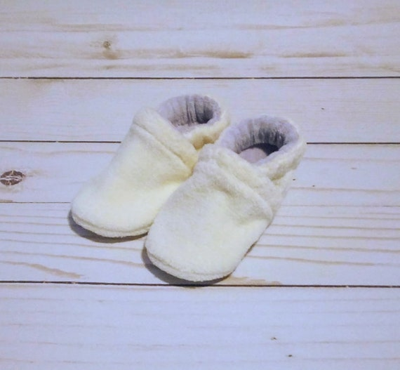 Cream & Lavender: Soft Sole Baby Shoes 0-3M