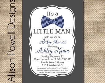 Little Man - Bowtie  - It's A Boy -  Baby Shower or Sprinkle Invitation - Print Your Own or Printed