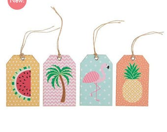 12 labels cardboard with tropical patterns - tropical Tag with pink Flamingo, pineapple, watermelon and Palm tree